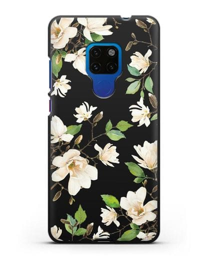 Чехол Магнолия белая силикон черный для Huawei Mate 20