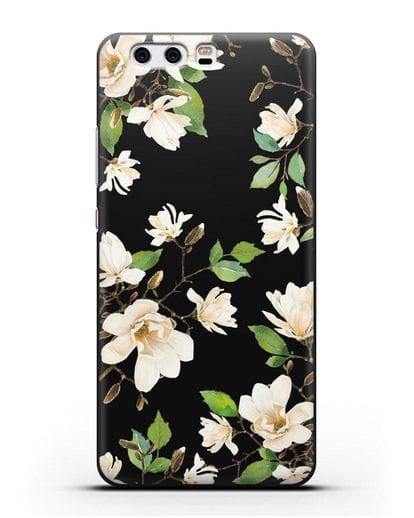 Чехол Магнолия белая силикон черный для Huawei P10 Plus