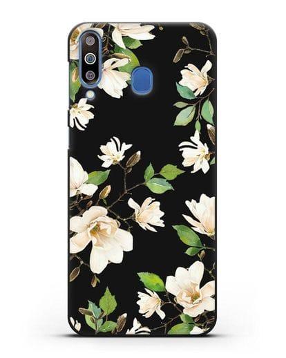 Чехол Магнолия белая силикон черный для Samsung Galaxy M30 [SM-M305F]