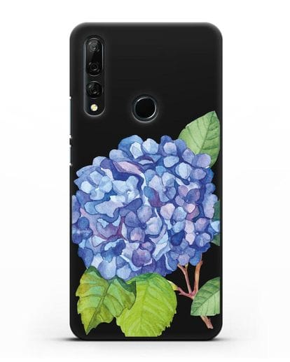 Чехол Гортензия голубая силикон черный для Honor 9X