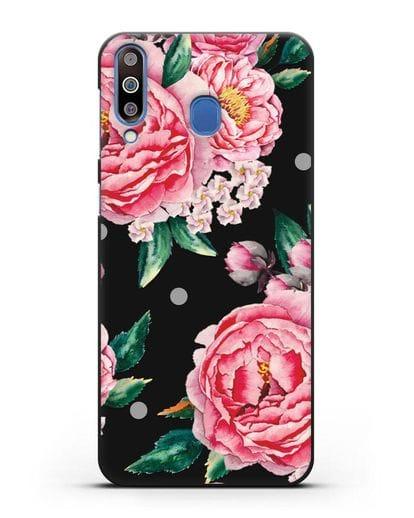 Чехол Пионы махровые силикон черный для Samsung Galaxy M30 [SM-M305F]
