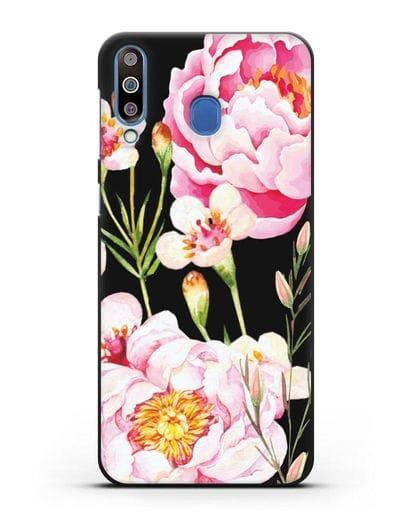 Чехол Пион Сара Бернар силикон черный для Samsung Galaxy M30 [SM-M305F]