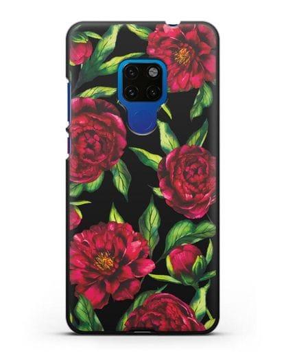 Чехол Пионы бордовые силикон черный для Huawei Mate 20