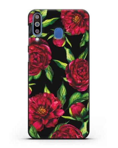 Чехол Пионы бордовые силикон черный для Samsung Galaxy M30 [SM-M305F]