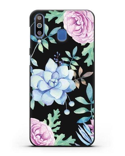 Чехол Суккуленты силикон черный для Samsung Galaxy M30 [SM-M305F]