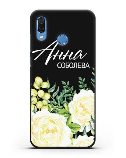 Именной чехол Белые розы силикон черный для Honor Play