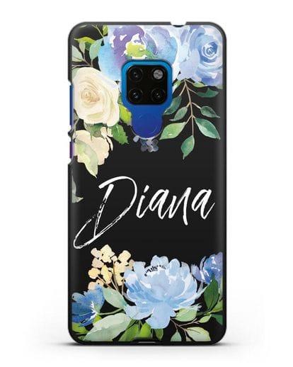 Именной чехол Роза голубая силикон черный для Huawei Mate 20