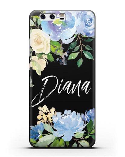 Именной чехол Роза голубая силикон черный для Huawei P10 Plus