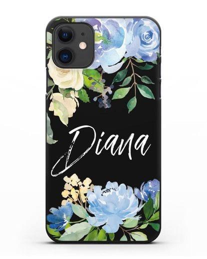 Именной чехол Роза голубая силикон черный для iPhone 11