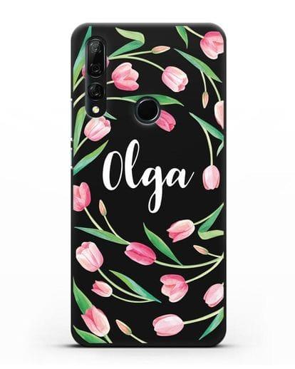 Именной чехол Тюльпаны розовые силикон черный для Honor 9X