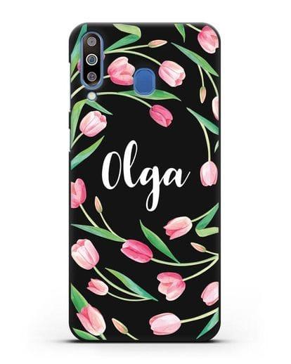Именной чехол Тюльпаны розовые силикон черный для Samsung Galaxy M30 [SM-M305F]
