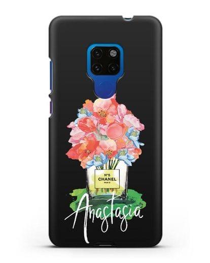 Чехол Букет цветов Chanel №5 с именем, фамилией силикон черный для Huawei Mate 20