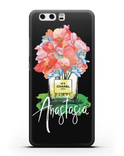 Чехол Букет цветов Chanel №5 с именем, фамилией силикон черный для Huawei P10 Plus