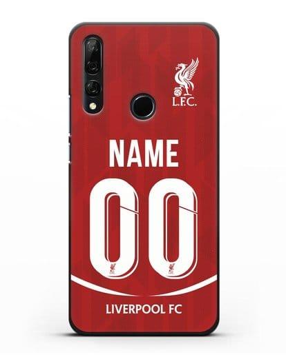 Именной чехол Ливерпуль с фамилией и номером (сезон 2018-2019) красная форма силикон черный для Honor 9X