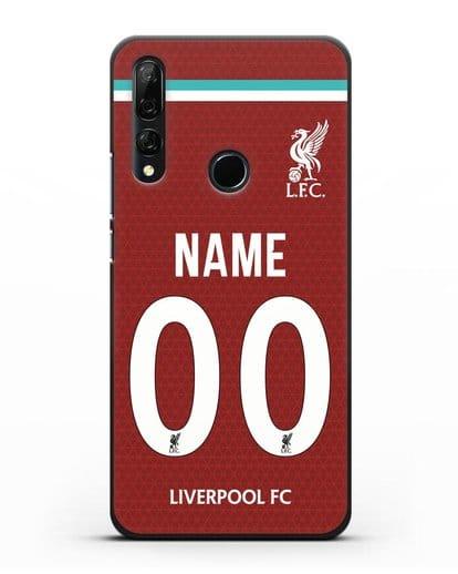 Именной чехол ФК Ливерпуль с фамилией и номером (сезон 2020-2021) домашняя форма силикон черный для Honor 9X