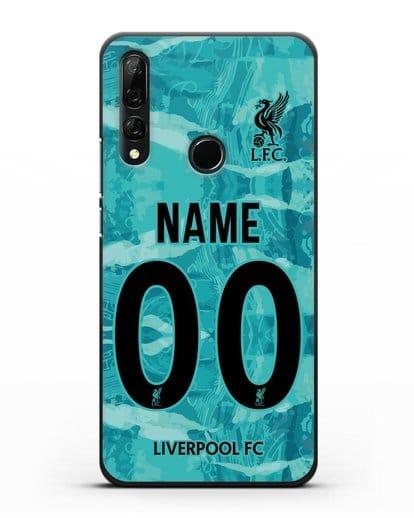 Именной чехол ФК Ливерпуль с фамилией и номером (сезон 2020-2021) гостевая форма силикон черный для Honor 9X