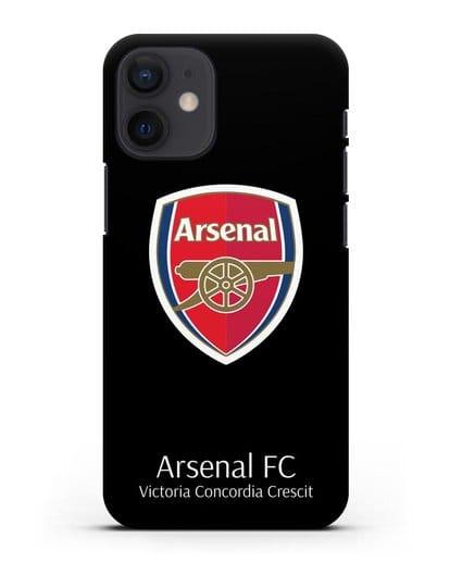 Чехол с логотипом ФК Арсенал Лондон силикон черный для iPhone 12 mini