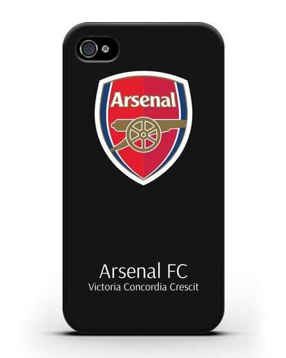 Чехол с логотипом ФК Арсенал Лондон силикон черный для iPhone 4/4s