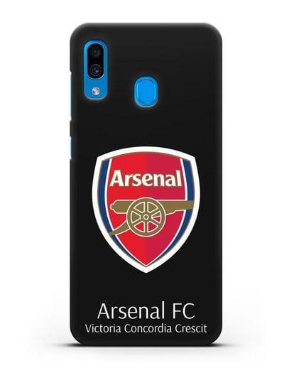 Чехол с логотипом ФК Арсенал Лондон силикон черный для Samsung Galaxy A30 [SM-A305FN]