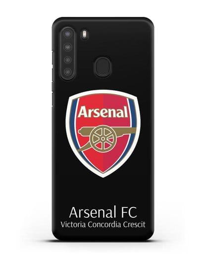 Чехол с логотипом ФК Арсенал Лондон силикон черный для Samsung Galaxy A21 [SM-A215]