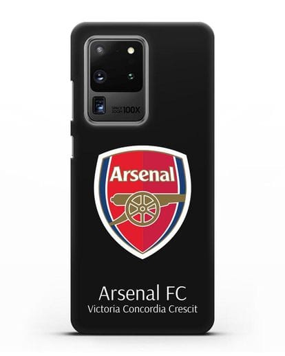 Чехол с логотипом ФК Арсенал Лондон силикон черный для Samsung Galaxy S20 Ultra [SM-G988B]