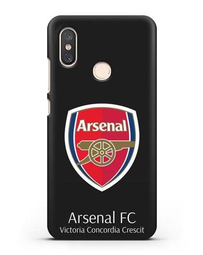 Чехол с логотипом ФК Арсенал Лондон силикон черный для Xiaomi Mi 8