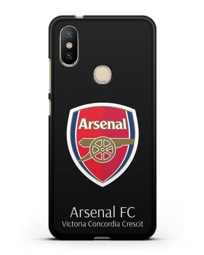 Чехол с логотипом ФК Арсенал Лондон силикон черный для Xiaomi Mi A2