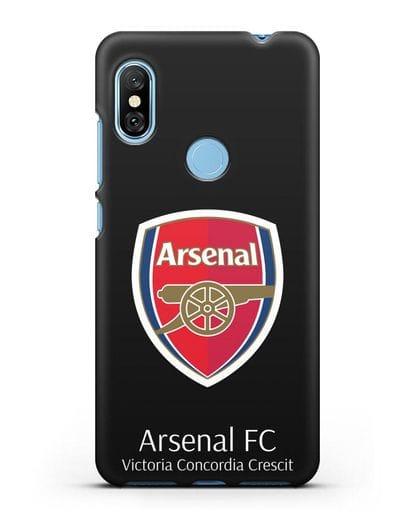 Чехол с логотипом ФК Арсенал Лондон силикон черный для Xiaomi Redmi Note 6 Pro