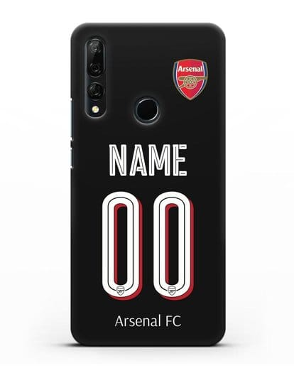 Именной чехол Арсенал с фамилией и номером (сезон 2018-2019) черная форма силикон черный для Honor 9X