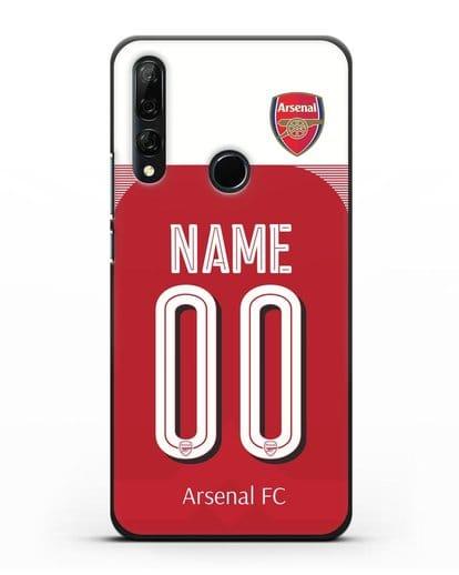 Именной чехол Арсенал с фамилией и номером (сезон 2018-2019) красная форма силикон черный для Honor 9X