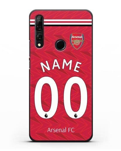 Именной чехол ФК Арсенал с фамилией и номером (сезон 2020-2021) домашняя форма силикон черный для Honor 9X
