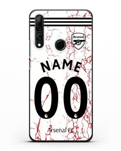 Именной чехол ФК Арсенал с фамилией и номером (сезон 2020-2021) гостевая форма силикон черный для Honor 9X