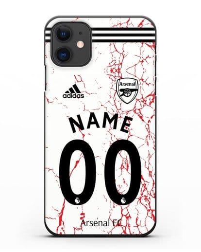 Именной чехол ФК Арсенал с фамилией и номером (сезон 2020-2021) гостевая форма силикон черный для iPhone 11