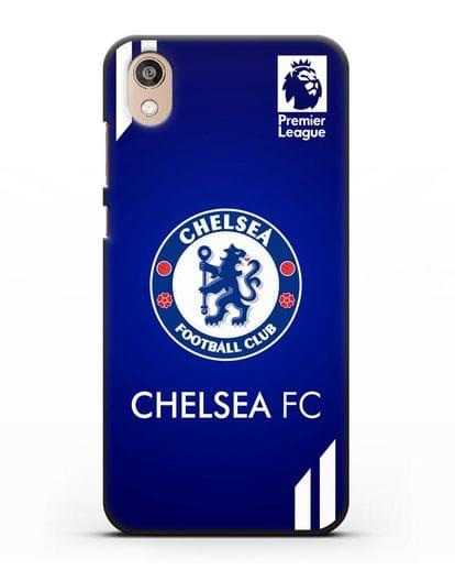 Чехол с логотипом ФК Челси с синим фоном силикон черный для Honor 8S