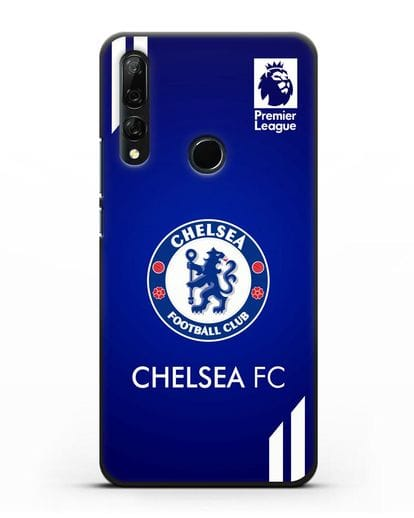 Чехол с логотипом ФК Челси с синим фоном силикон черный для Honor 9X