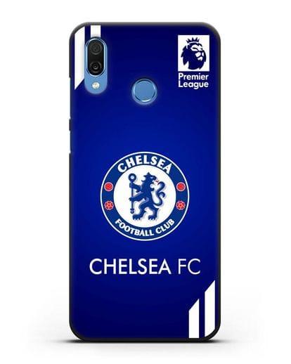 Чехол с логотипом ФК Челси с синим фоном силикон черный для Honor Play