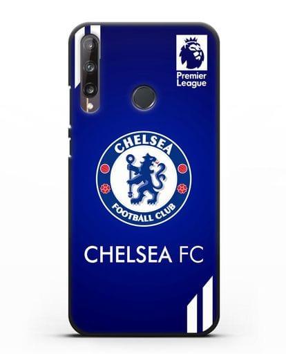Чехол с логотипом ФК Челси с синим фоном силикон черный для Huawei P40 lite E