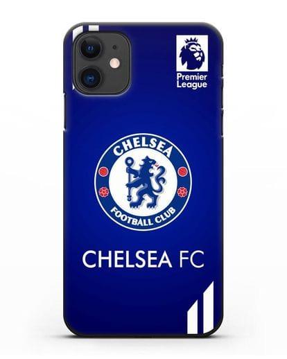 Чехол с логотипом ФК Челси с синим фоном силикон черный для iPhone 11