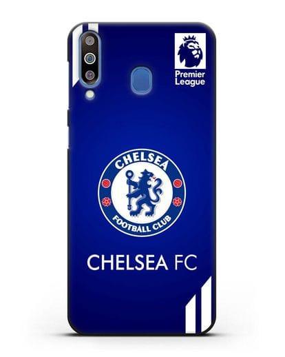 Чехол с логотипом ФК Челси с синим фоном силикон черный для Samsung Galaxy M30 [SM-M305F]