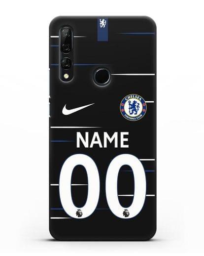Именной чехол Челси с фамилией и номером (сезон 2018-2019) черная форма силикон черный для Honor 9X