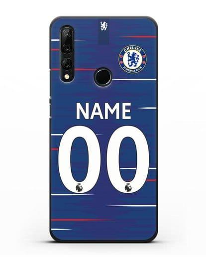 Именной чехол Челси с фамилией и номером (сезон 2018-2019) синяя форма силикон черный для Honor 9X