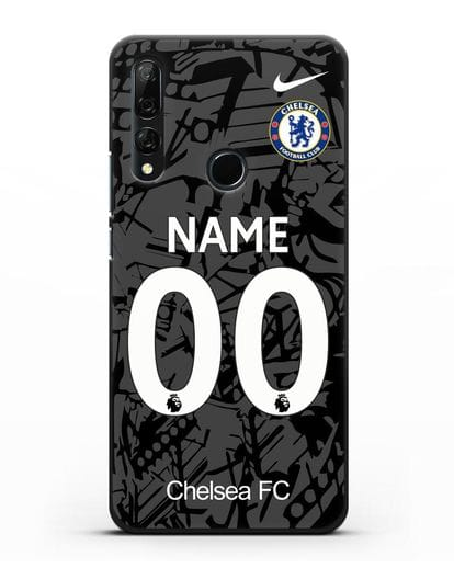 Именной чехол Челси с фамилией и номером (сезон 2019-2020) черная форма силикон черный для Honor 9X