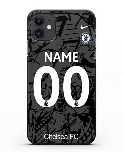 Именной чехол Челси с фамилией и номером (сезон 2019-2020) черная форма силикон черный для iPhone 11