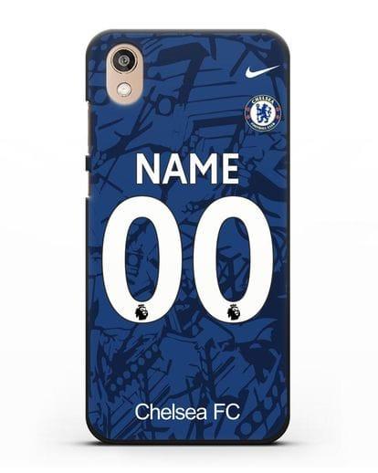 Именной чехол Челси с фамилией и номером (сезон 2019-2020) синяя форма силикон черный для Honor 8S