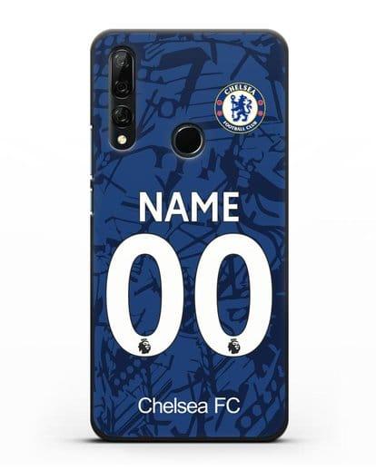 Именной чехол Челси с фамилией и номером (сезон 2019-2020) синяя форма силикон черный для Honor 9X