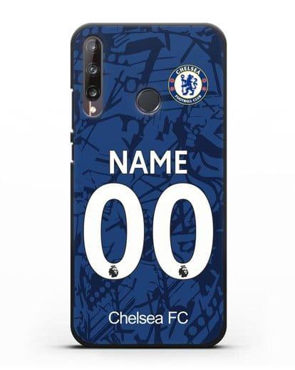 Именной чехол Челси с фамилией и номером (сезон 2019-2020) синяя форма силикон черный для Huawei P40 lite E