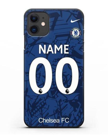 Именной чехол Челси с фамилией и номером (сезон 2019-2020) синяя форма силикон черный для iPhone 11