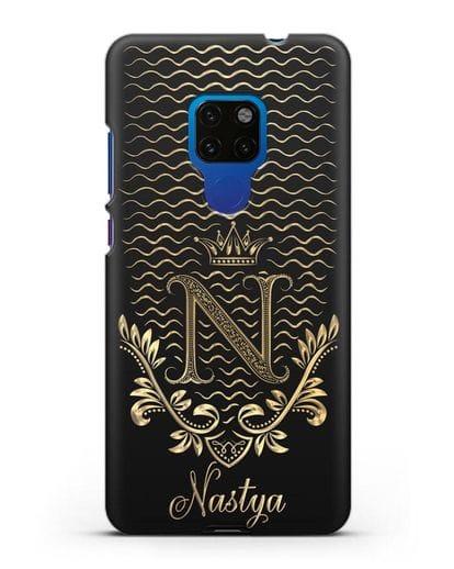 Чехол с короной, именем и фамилией с золотым рисунком силикон черный для Huawei Mate 20