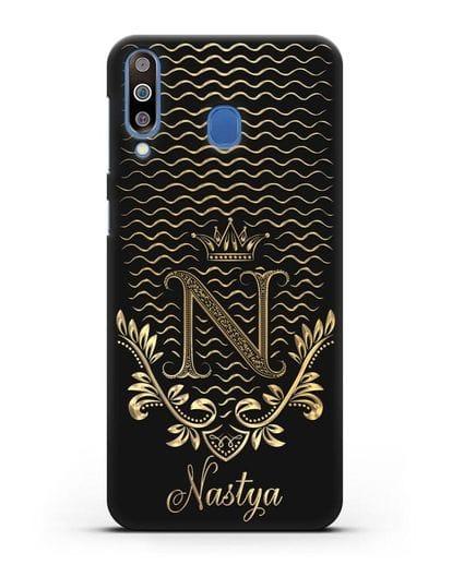 Чехол с короной, именем и фамилией с золотым рисунком силикон черный для Samsung Galaxy M30 [SM-M305F]
