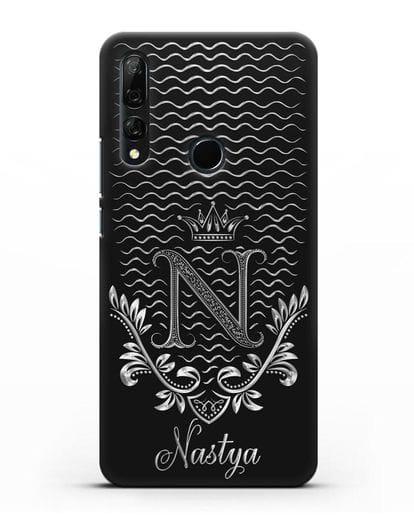 Чехол с короной, именем и фамилией с серебряным рисунком силикон черный для Honor 9X